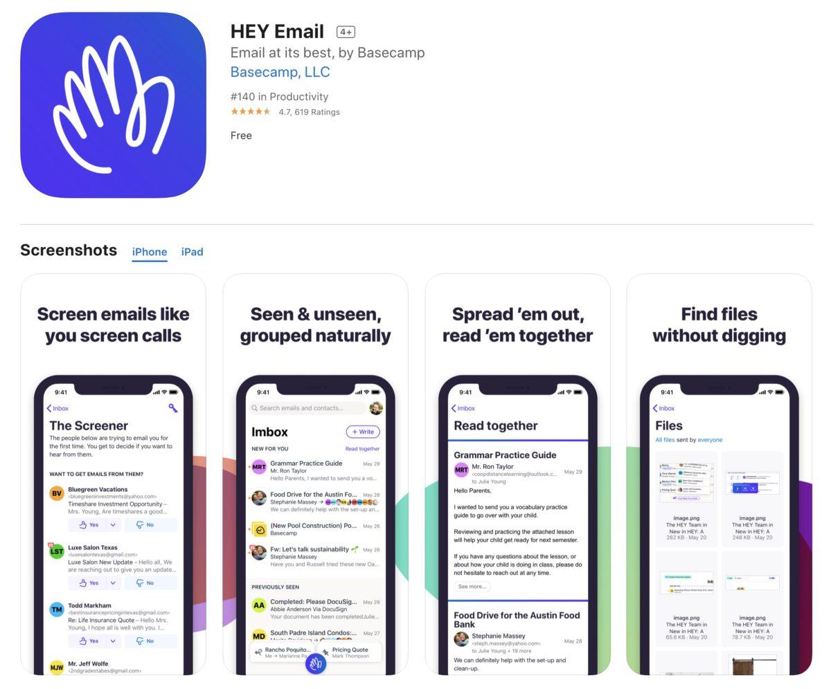現時 HEY Email 仍然可以在 App Store 找到,不過 Apple 警告如果開發商不加入 App 內購買功能的話,就會將程式下架。