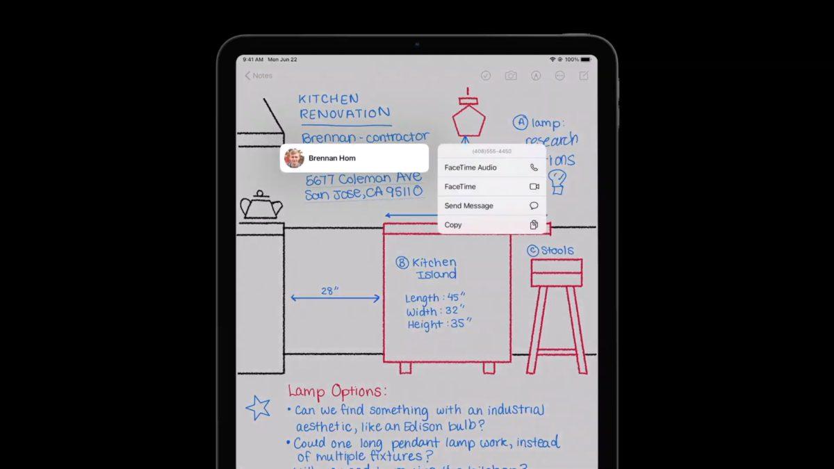 iPadOS 14 懂得分辦筆記上的電話號碼和地址,可觸發相應程式。