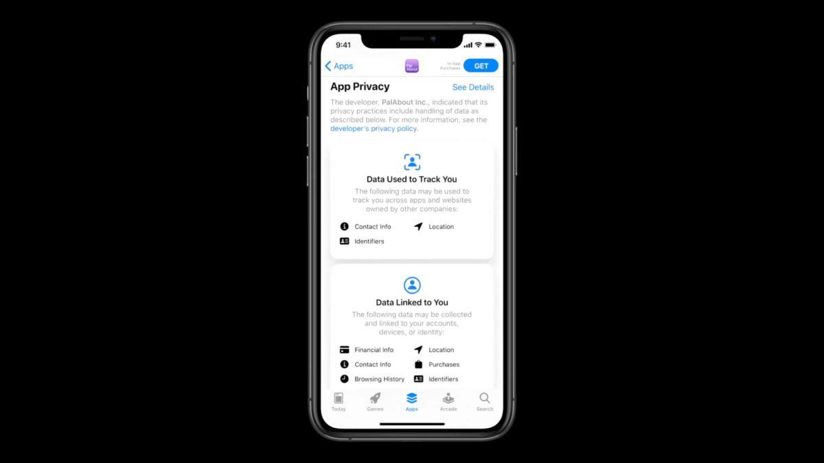App Store 會在每個程式的頁面加入清晰的私隱標示,顯示該程式有哪些資料可能會被收集和連結到用戶的帳戶,或者用來追踪用戶。用戶可以在下載程式之前先了解該程式有沒有私隱問題。