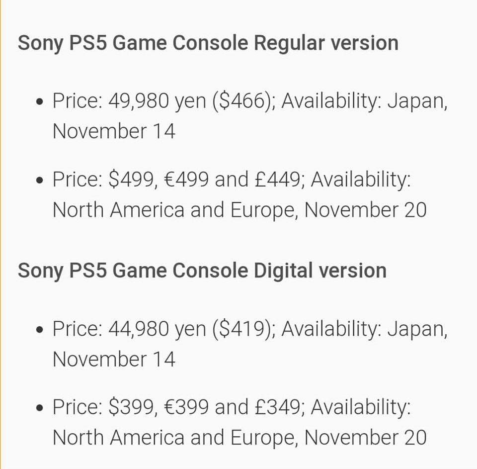 網絡上流傳有關 Playstation 5 的訂價資料