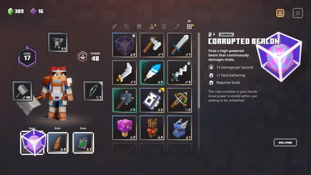 Minecraft Dungeons 裝備畫面