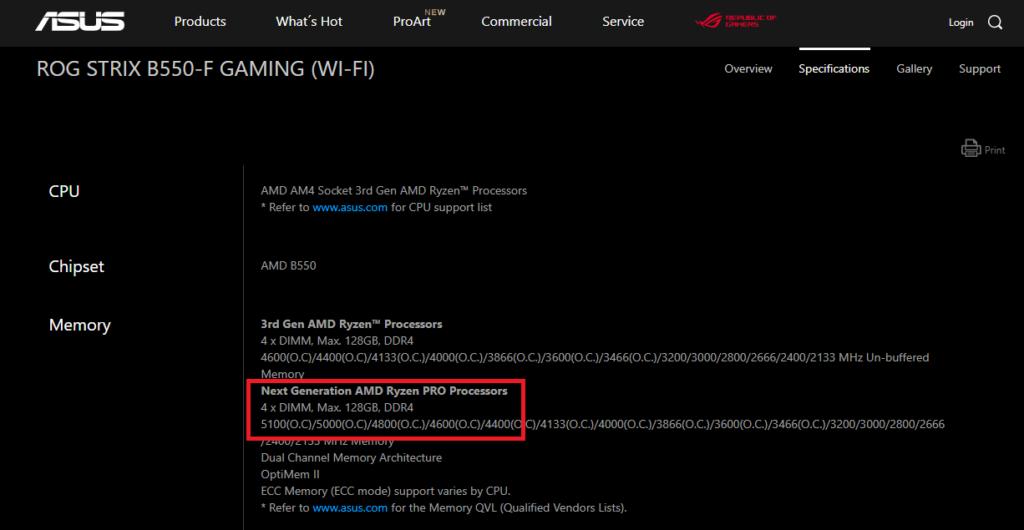 ASUS 官網清楚顯示主機板在支援下一代 Ryzen 時擁有較強的 DDR4 支援能力