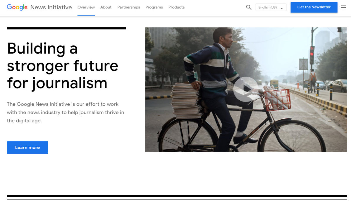 登入 Google News Initiative 網站,有「Building a stronger future for journalism」為題,當中「GNI Innovation Challenges」現時有開放北美地區的申請。