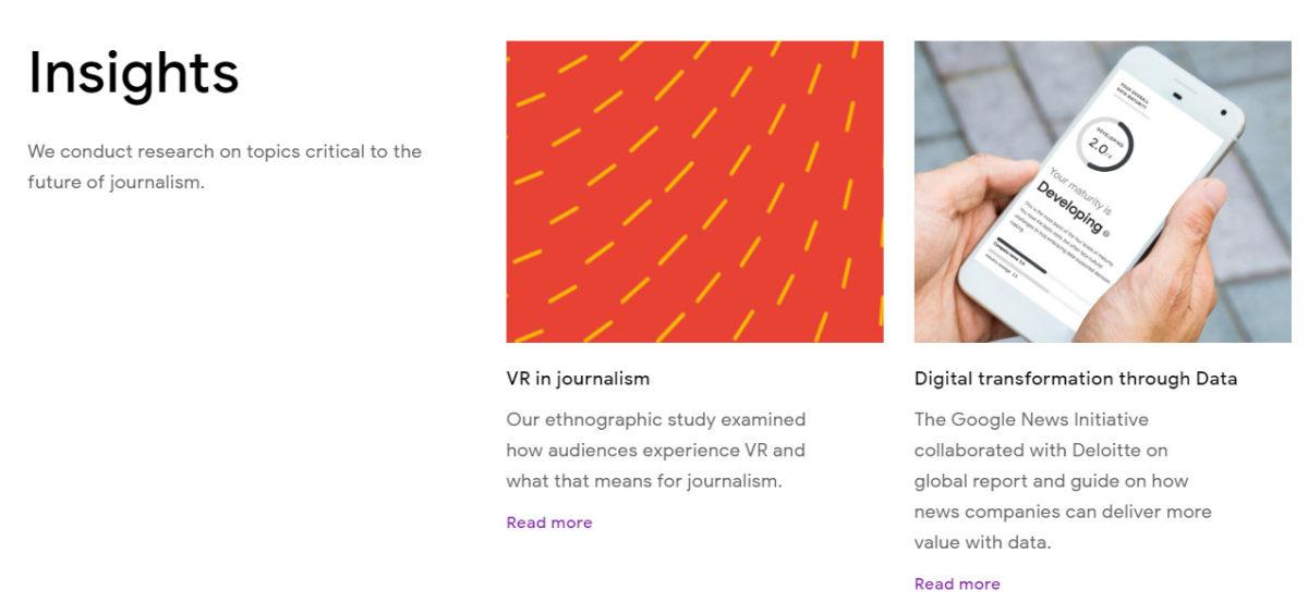 細看 Google News Initiative 網站,能以科技角度看新聞行業未來發展可能性。