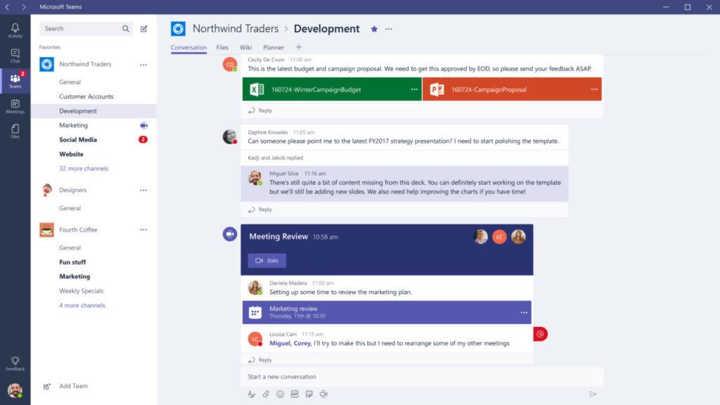 Microsoft Teams 使用界面