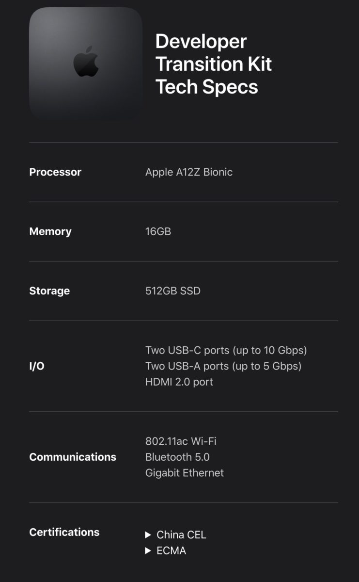 配備 Apple A12Z 處理器的 Developer Transition Kit 規格。