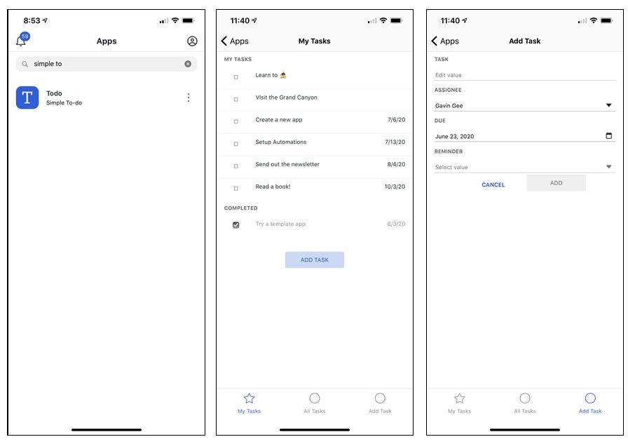 完成了的程式可以分享給其他用戶,只要安裝名為《Honeycode Player》的手機程式,就可以在 iOS 或 Android 平台當作手機程式一樣來執行。