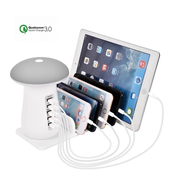 5 Ports Desktop Charger With Mushroom Lamp0