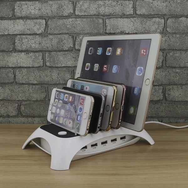 5 Ports Desktop Smart Charger Station Docks 0