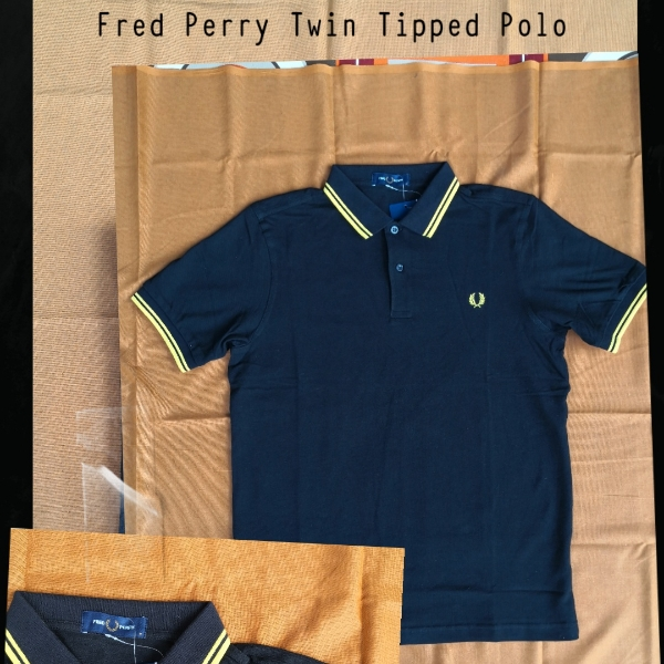 Fred Perry Twin Tipped Polo Black Yellow