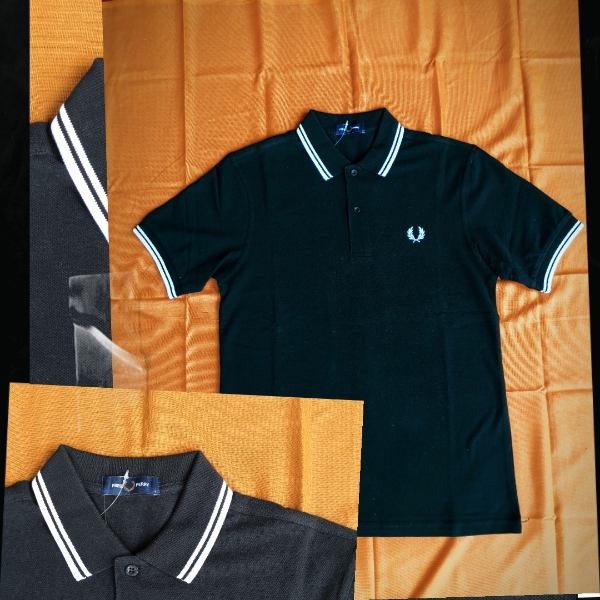 Fred Perry Twin Tipped Polo Black White