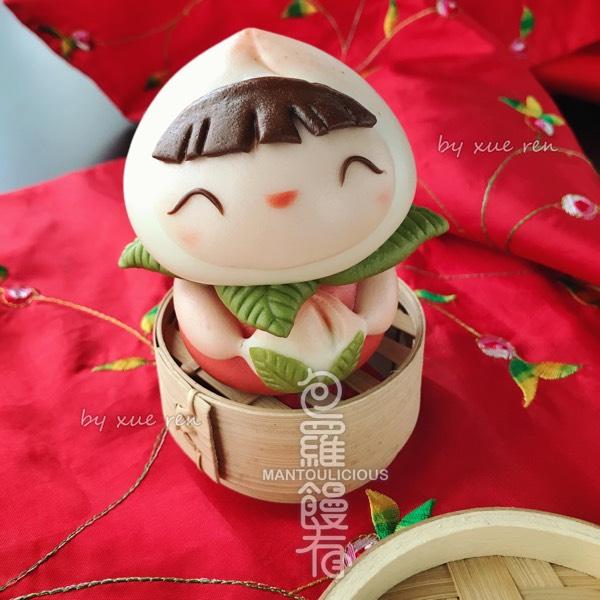 11/3 3D Longevity Peach Baby and Traditional Peach Steamed Bun0