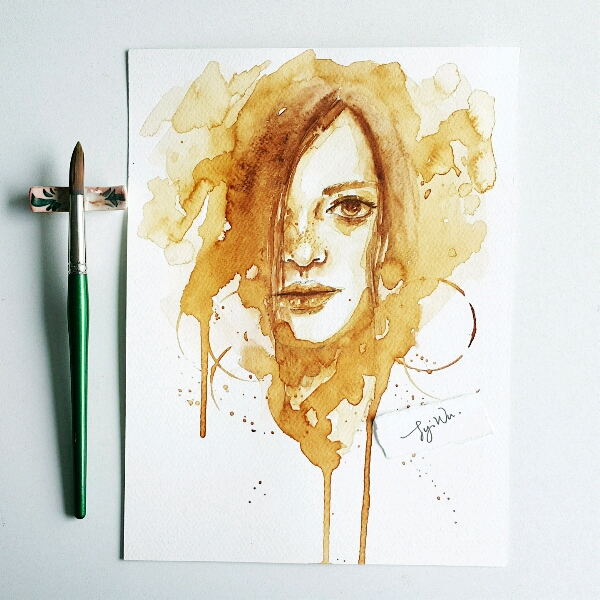 Coffee Watercolour by Zoe @jyiwu.artisst1
