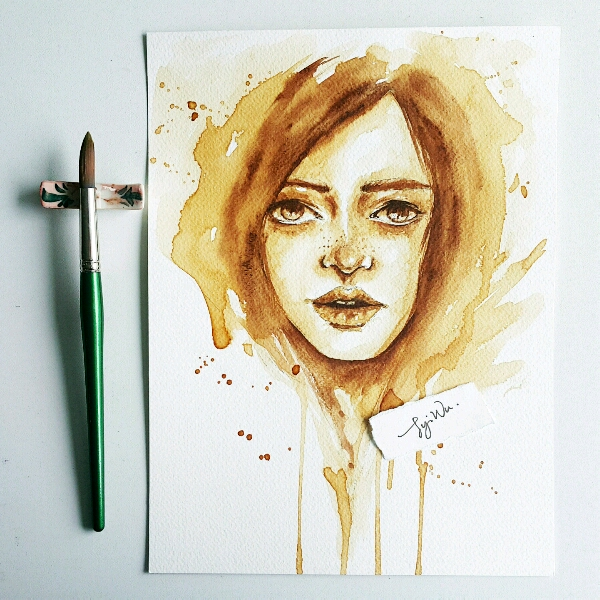Coffee Watercolour by Zoe @jyiwu.artisst2