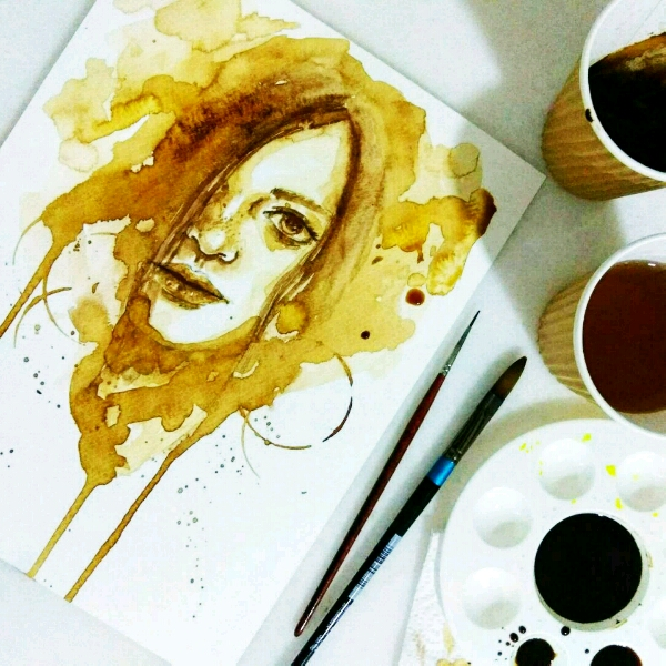Coffee Watercolour by Zoe @jyiwu.artisst4
