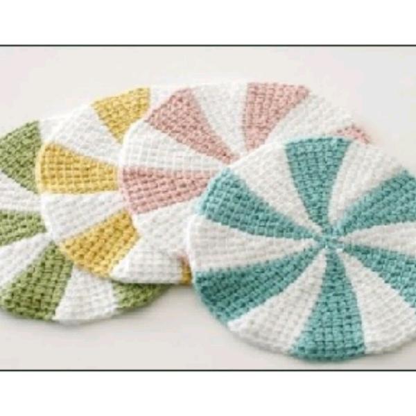 Tunisian Crochet - Pinwheel Coasters