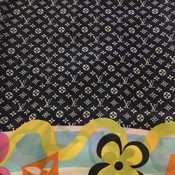Monogram Flowers Border Dark Blue0