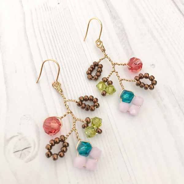 Autumn Garden Earrings With Gold Wire0