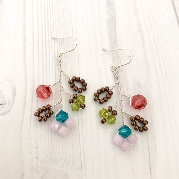 Autumn Garden Earrings With Silver Wire1