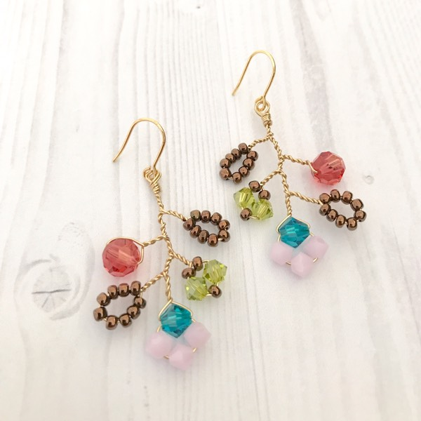 Autumn Garden Earrings With Gold Wire1