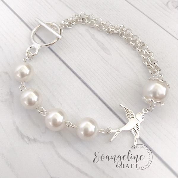 Bracelet With Bird Charm, Swarovski Pearls BR2017070