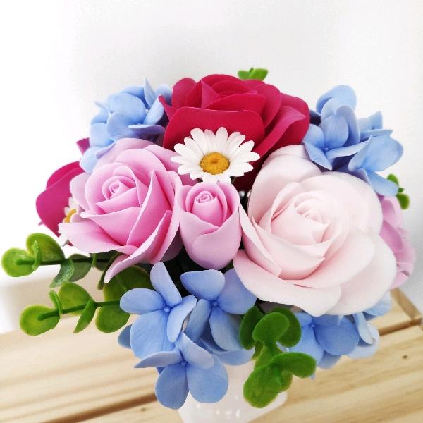 Deco Clay Flower Mini Posie Pink/Blue HDF19010