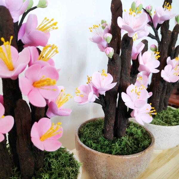 Deco Clay Mini Plum Blossoms Pot0