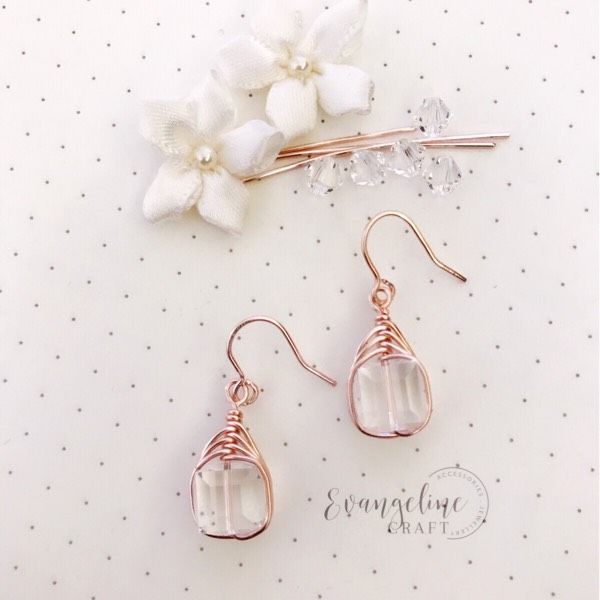 Earrings Swarovski Crystal Cube In Light Rose Gold0