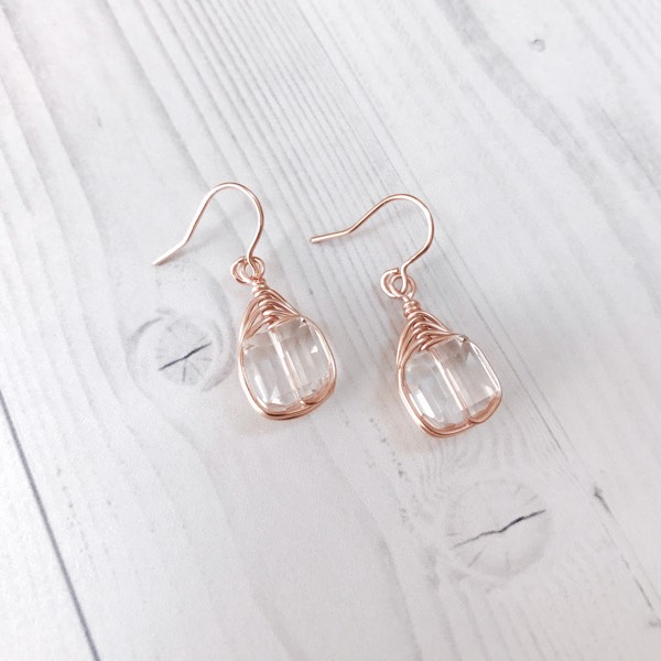 Earrings Swarovski Crystal Cube In Light Rose Gold1