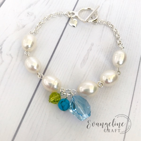 Freshwater Pearls Bracelet With Swarovski Crystal And Turquoise Bead BR2017080