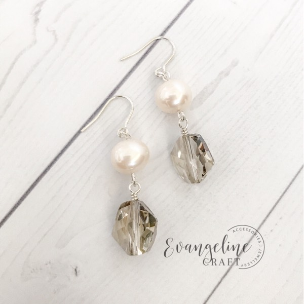 Freshwater Pearl Earrings Light Grey ER202230