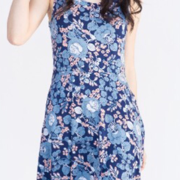 Fisher Dress I Got You Babe Floral Navy And Chambray0
