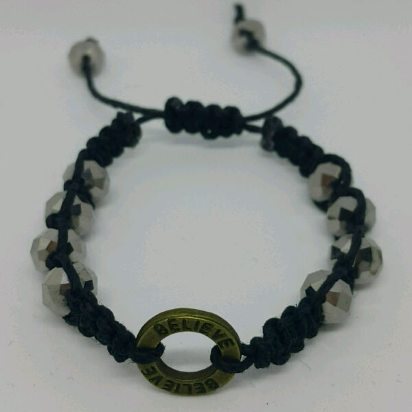 BELIEVE - Macrame Bracelet With Faux Crystal Beads1