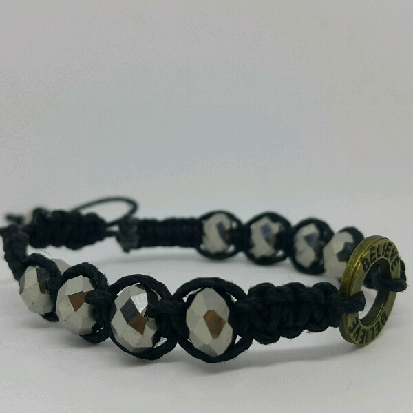 BELIEVE - Macrame Bracelet With Faux Crystal Beads2