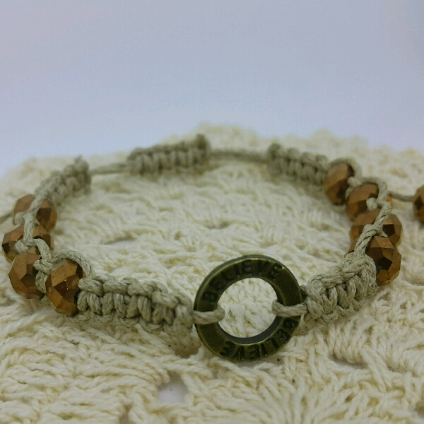 BELIEVE - Macrame Bracelet With Faux Crystal Beads