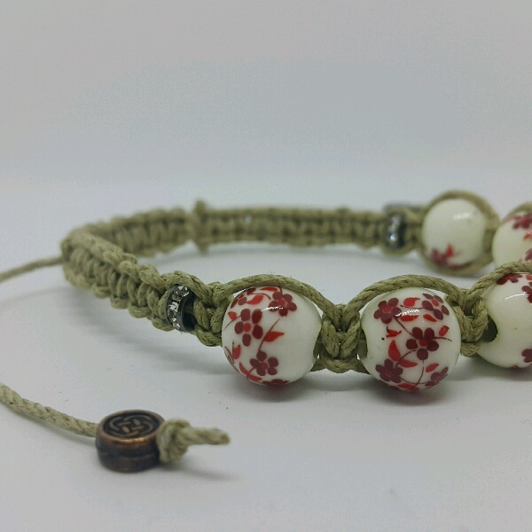 Beige Macrame Bracelet With Red Flower Porcelain Beads & Small Rondelle