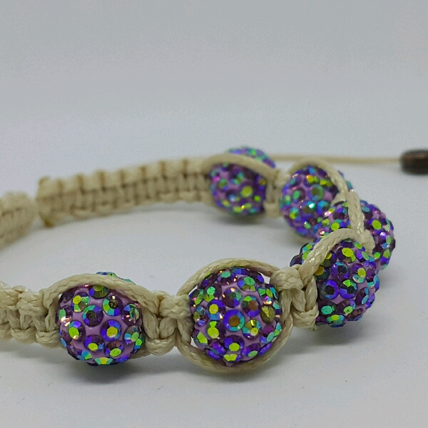 Beige Macrame Bracelet With High Quality Purple Swarovski Round Rondelle Crystals