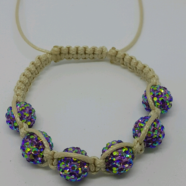 Beige Macrame Bracelet With High Quality Purple Swarovski Round Rondelle Crystals1
