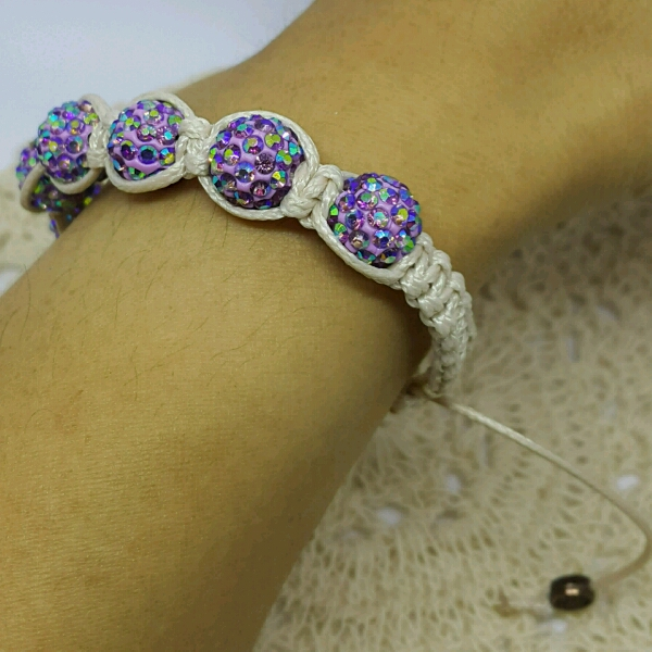Beige Macrame Bracelet With High Quality Purple Swarovski Round Rondelle Crystals2