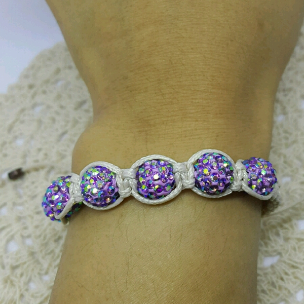 Beige Macrame Bracelet With High Quality Purple Swarovski Round Rondelle Crystals3