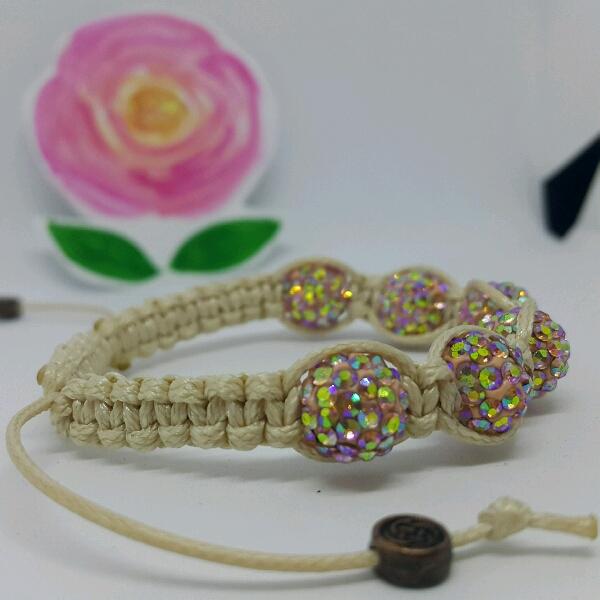 Beige Macrame Bracelet With High Quality Pink Swarovski Round Rondelle Crystals1