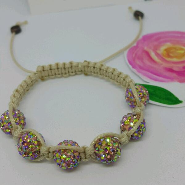 Beige Macrame Bracelet With High Quality Pink Swarovski Round Rondelle Crystals3