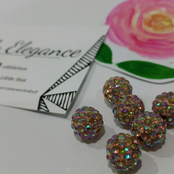 Beige Macrame Bracelet With High Quality Pink Swarovski Round Rondelle Crystals4