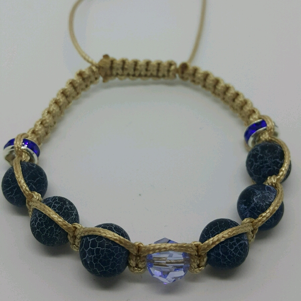 Beige Macrame Bracelet With Agave Stone Beads And Swarovski crystal
