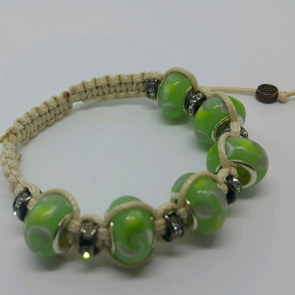 Beige Macrame Bracelet With Light Green Large Rondelle Pave & Small Rondelle Crystals