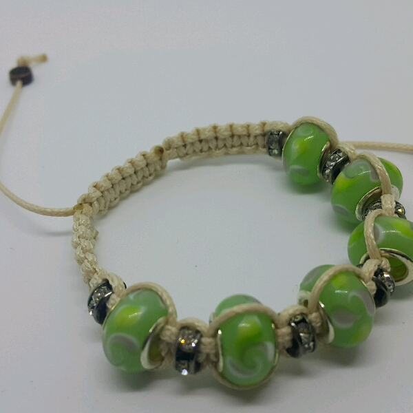 Beige Macrame Bracelet With Light Green Large Rondelle Pave & Small Rondelle Crystals1