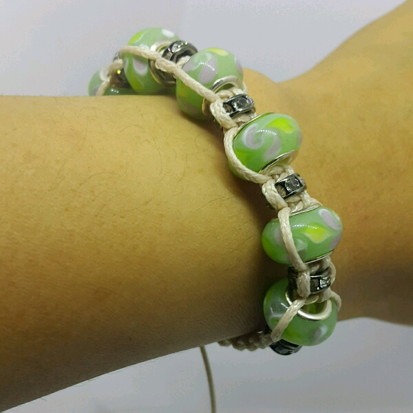 Beige Macrame Bracelet With Light Green Large Rondelle Pave & Small Rondelle Crystals2