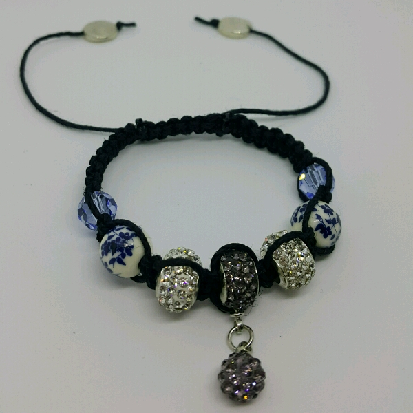 Black Hemp Cord Macrame Bracelet With Mixture Of Large Rondelle Crystals, Swarovski & Porcelain Bead