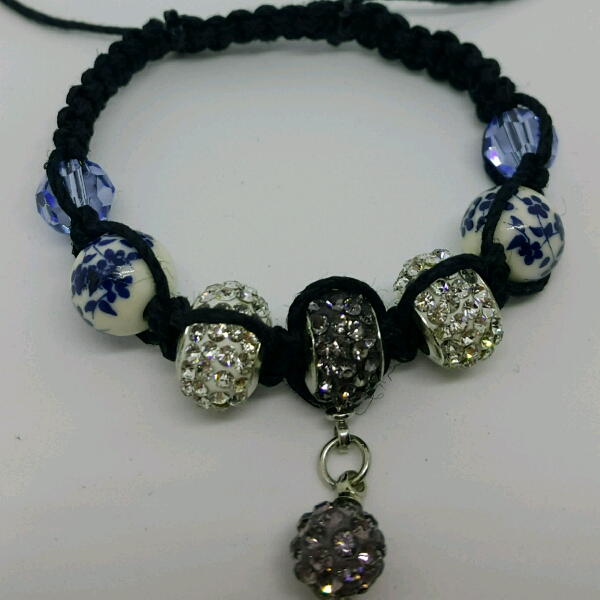 Black Hemp Cord Macrame Bracelet With Mixture Of Large Rondelle Crystals, Swarovski & Porcelain Bead3