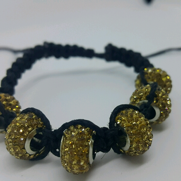 Black Hemp Cord Macrame Bracelet With Brown Large Rondelle Crystals